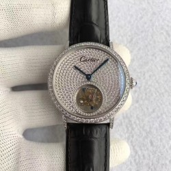 Replica Cartier Rotonde Tourbillon N Stainless Steel & Diamonds Diamond Dial Swiss Tourbillon