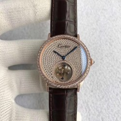 Replica Cartier Rotonde Tourbillon N Rose Gold & Diamonds Diamond Dial Swiss Tourbillon