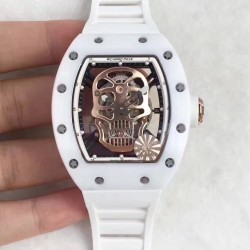 Replica Richard Mille RM052 KV White Ceramic Gold Skull Dial M6T51