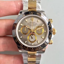 Replica Rolex Daytona Cosmograph 116519LN JH Yellow Gold & Stainless Steel Grey Dial Swiss 4130 Run 6@SEC