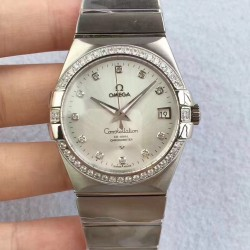 Replica Omega Constellation 123.55.38.20.99.001 38MM SSS Stainless Steel & Diamonds Mother Of Pearl Dial Swiss 8500