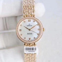 Replica Omega De Ville Dewdrop 424.55.27.60.55.006 XF Yellow Gold & Diamonds Mother Of Pearl Dial Swiss 8521