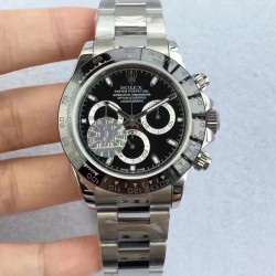 Replica Rolex Daytona Cosmograph 116500LN JF Stainless Steel Black Dial Swiss 7750 Run 6@SEC