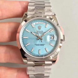 Replica Rolex Day-Date 40 228206 N Stainless Steel Blue Diagonal Dial Swiss 3255