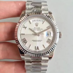 Replica Rolex Day-Date 40 228239 40MM N Stainless Steel Silver Quadrant Dial Swiss 3255