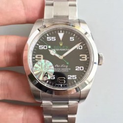 Replica Rolex Air-King 116900 JF Stainless Steel Black Dial Swiss 3131