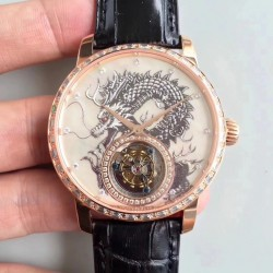 Replica Vacheron Constantin Patrimony Tourbillon N Rose Gold & Diamonds Dragon Dial Swiss Tourbillon