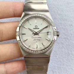 Replica Omega Constellation 123.55.38.20.99.001 38MM SSS Stainless Steel & Diamonds Silver Dial Swiss 8500