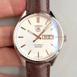 Replica Tag Heuer Carrera Calibre 5 Day-Date 41MM WAR201D.FC6291 HBB V6 Stainless Steel White Dial Swiss Calibre 5