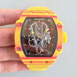 Replica Richard Mille RM27-03 Rafael Nadal RM Yellow & Red Forged Carbon Black Skeleton Dial M9015