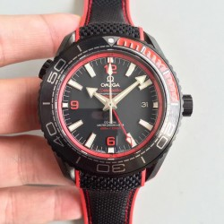 Replica Omega Seamaster Planet Ocean 600M Deep Black In Red GMT 215.92.46.22.01.003 JH PVD Black Dial Swiss 8906
