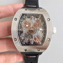 Replica Richard Mille RM018 Tourbillon Hommage A Boucheron N Stainless Steel Brown Skeleton Dial M6T51