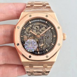 Replica Audemars Piguet Royal Oak Double Balance Wheel Openworked 15407 JF Rose Gold Black Skeleton Dial Swiss 3132