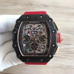 Replica Richard Mille RM011-03 Flyback Chronograph KL Forged Carbon Black Skeleton Dial Swiss 7750