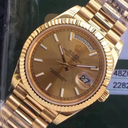 Replica Rolex Day-Date 40 228235 2018 EW Yellow Gold Rose Gold Dial Swiss 3255