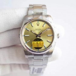 Replica Rolex Oyster Perpetual 34 114300 2018 UB Stainless Steel Champagne Dial Swiss 2836-2