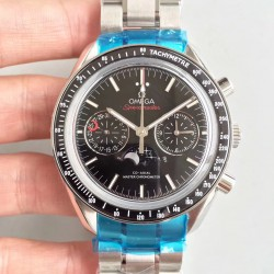 Replica Omega Speedmaster Moonwatch Moonphase Chronograph 304.30.44.52.01.001 BF Stainless Steel Black Dial Swiss 9300