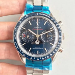 Replica Omega Speedmaster Moonwatch Moonphase Chronograph 304.33.44.52.03.001 BF Stainless Steel Blue Dial Swiss 9300