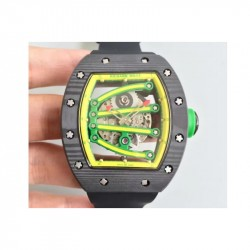 Replica Richard Mille RM59-01A Forged Carbon Yellow Skeleton Dial M6T51
