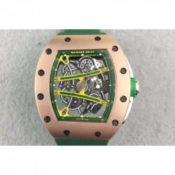 Replica Richard Mille RM61 Rose Gold Green Skeleton Dial M9015