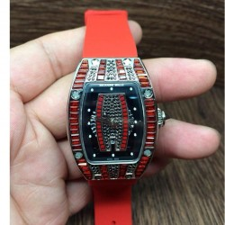 Replica Richard Mille RM007 Lady Stainless Steel Red Diamonds Dial M6T51