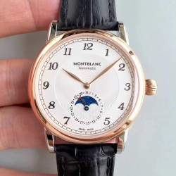 Replica Montblanc Star Legacy Moonphase 42MM U0116508 N Stainless Steel & Rose Gold White Dial Swiss MB 24.19