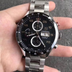 Replica Tag Heuer Carrera Calibre 1887 Day-Date 43MM HBB V6 Stainless Steel Black Dial Swiss Calibre 1887