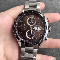 Replica Tag Heuer Carrera Calibre 1887 Day-Date 43MM HBB V6 Stainless Steel Chocolate Dial Swiss Calibre 1887