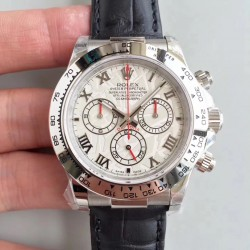 Replica Rolex Daytona Cosmograph 116520 JH Stainless Steel White Dial Swiss 4130 Run 6@SEC