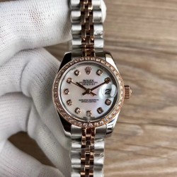 Replica Rolex Lady Datejust 28 279381RBR 28MM WF Stainless Steel & Rose Gold Mother Of Pearl Dial Swiss 2671