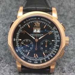 Replica A. Lange & Sohne Datograph Flyback BM Rose Gold Black Dial Swiss Lemania