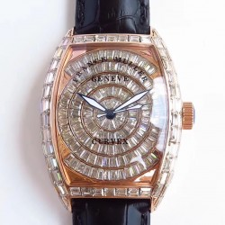 Replica Franck Muller Cintree Curvex 8880 CC AT D ABF Rose Gold & Diamonds Diamond Dial Swiss 2824-2