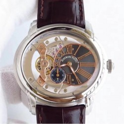Replica Audemars Piguet Royal Millenary 4101 15350ST.OO.D002CR.01 V9 Stainless Steel Rose Gold Skeleton Dial Swiss 4101
