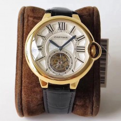 Replica Ballon Bleu De Cartier Flying Tourbillon W6920001 N Yellow Gold Silver Dial Swiss 9452MC