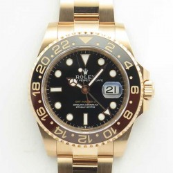 Replica Rolex GMT-Master II 126715CHNR AR Stainless Steel 904L With 24K Rose Gold Wrapped Black Dial Swiss 2836-2