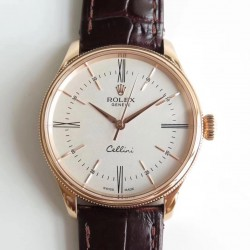 Replica Rolex Cellini 50505 MK V4 Rose Gold White Dial Swiss 3132