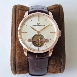 Replica Girard Perregaux 1966 Tourbillon Sous Pont D'Or 99535-52-131-BKBA N Rose Gold White Dial Swiss Tourbillon