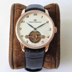 Replica Girard Perregaux 1966 Tourbillon Sous Pont D'Or 99535-52-131-BKBA N Rose Gold & Diamond White Dial Swiss Tourbillon