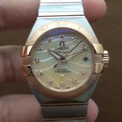 Replica Omega Constellation Double Eagle Lady 27MM Stainless Steel & Rose Gold Gold Dial Swiss 8520