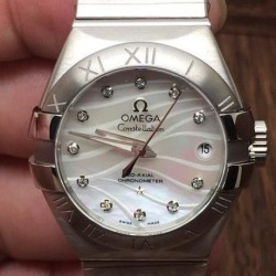 Replica Omega Constellation Double Eagle Lady 27MM Stainless Steel Pearl Dial Swiss 8520