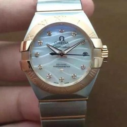 Replica Omega Constellation Double Eagle Lady 27MM Stainless Steel & Rose Gold Pearl Dial Swiss 8520