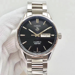 Replica Tag Heuer Carrera Calibre 5 Day-Date 41MM WAR201A.BA0723 N Stainless Steel Black Dial Swiss 2836-2