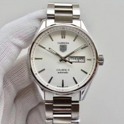 Replica Tag Heuer Carrera Calibre 5 Day-Date 41MM WAR201B.BA0723 N Stainless Steel White Dial Swiss 2836-2