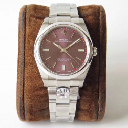 Replica Rolex Oyster Perpetual 39 114300 AR Stainless Steel 904L Red Dial Swiss 3132