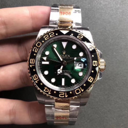Replica Rolex GMT-Master II 116713 GM Stainless Steel 904L & Yellow Gold Green Dial Swiss 2836-2