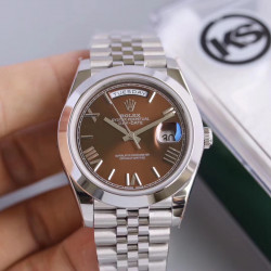 Replica Rolex Day-Date II 218206 41MM KS Stainless Steel Chocolate Dial Swiss 2836-2