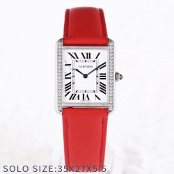 Replica Cartier Tank Solo Ladies 35MM AF Stainless Steel White Dial Swiss Ronda Quartz