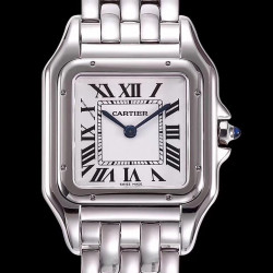 Replica Panthere de Cartier Medium Ladies WSPN0007 KOR Stainless Steel White Dial Swiss Ronda Quartz