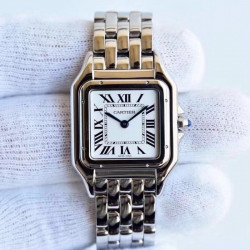 Replica Panthere de Cartier Medium Ladies WSPN0007 GF Stainless Steel White Dial Swiss Ronda Quartz