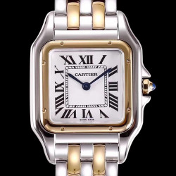 Replica Panthere de Cartier Medium Ladies W2PN0007 KOR Stainless Steel & Rose Gold White Dial Swiss Ronda Quartz